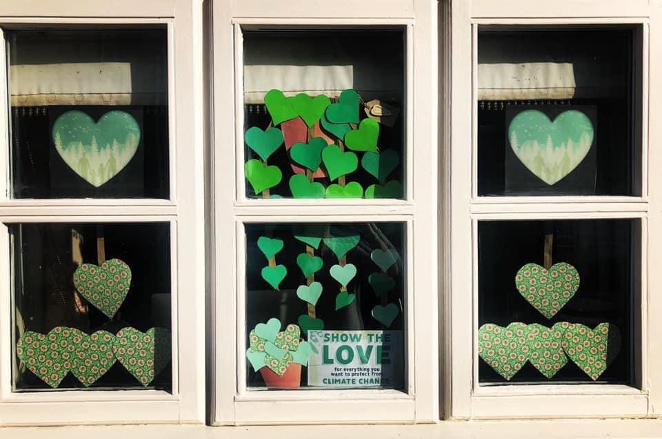 Six windows of green hearts